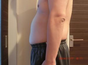 ライザップ20日目の体型「横」の画像