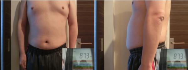 「ライザップ」に通って30日後の体型と体重(87.3kg)
